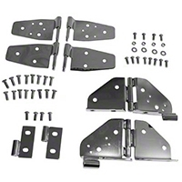 Rugged Ridge Stainless Steel Hinge Kit, Black Chrome (87-95 Wrangler YJ w/ Half Doors) - Rugged Ridge 7944
