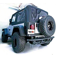 Rugged Ridge RRC Rear Bumper w/o Tire Carrier, Textured Black (87-06 Wrangler YJ & TJ) - Rugged Ridge 11503.11