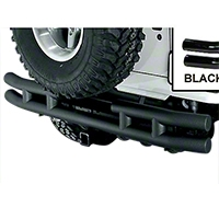 Rugged Ridge Tubular Rear Bumper w/Hitch, Gloss Black (87-06 Wrangler YJ & TJ) - Rugged Ridge 11570.04