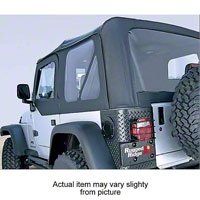 Rugged Ridge Soft Top w/ Clear Windows & No Door Skins, Black Denim (97-02 Wrangler TJ) - Rugged Ridge 13705.15