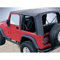 Rugged Ridge Soft Top w/ Clear Windows & No Door Skins, Black Diamond (03-06 Wrangler TJ) - Rugged Ridge 13709.35