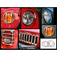 Rugged Ridge Stainless Steel Euro Guard Light Kit w/ Fog Light Guards, 21 Piece (07-14 Wrangler JK) - Rugged Ridge 12496.10