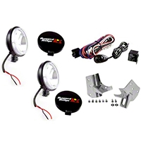 Rugged Ridge 2 Windshield Mount Lights, Black, 100W, Stainless Steel Mounts w/Wiring Harness (97-06 Wrangler TJ) - Rugged Ridge 12495.07