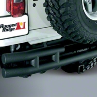 Rugged Ridge Tubular Rear Bumper w/Hitch, Textured Black (87-06 Wrangler YJ & TJ) - Rugged Ridge 11571.04