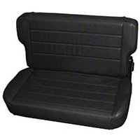 Smittybilt Fold and Tumble Rear Seat Vinyl, Traditional Black (87-95 Wrangler YJ) - Smittybilt 41301