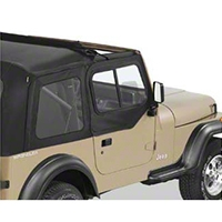 Bestop Upper Door Sliders for Sunrider or Supertop, Black Denim (88-95 Wrangler YJ) - Bestop 51786-15