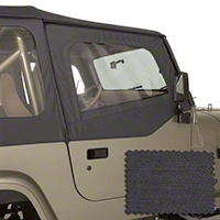 Rugged Ridge Upper Soft Door Kit, Front Pair, Black Denim (88-95 Wrangler YJ) - Rugged Ridge 13713.15