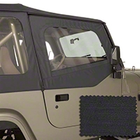 Rugged Ridge Upper Soft Door Kit, Front Pair, Black Diamond (88-95 Wrangler YJ) - Rugged Ridge 13713.35