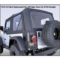Rugged Ridge XHD Soft Top w/ Clear Windows & No Door Skins, Black Denim (97-02 Wrangler TJ) - Rugged Ridge 13725.15
