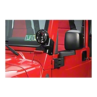 Smittybilt Windshield Hinge Light Bracket - Black (97-06 Wrangler TJ) - Smittybilt 7608