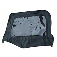 Smittybilt Soft Top Door Skin w/ Frame, Clear Windows, Driver Side, Black Denim (97-06 Wrangler TJ) - Smittybilt 79415