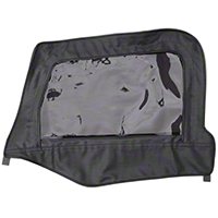 Smittybilt Soft Top Door Skin w/ Frame, Clear Windows, Passenger Side, Black Denim (97-06 Wrangler TJ) - Smittybilt 79515