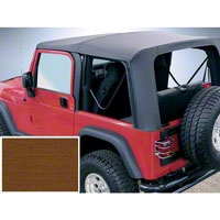 Rugged Ridge Soft Top w/ Clear Windows & No Door Skins, Dark Tan (97-02 Wrangler TJ) - Rugged Ridge 13705.33