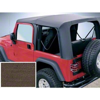 Rugged Ridge Soft Top w/ Clear Windows & No Door Skins, Khaki Diamond (03-06 Wrangler TJ) - Rugged Ridge 13709.36