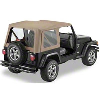 Bestop Soft Top Replace-A-Top Clear Windows, Dark Tan (97-02 Wrangler TJ w/ Full Steel Door) - Bestop 51127-33