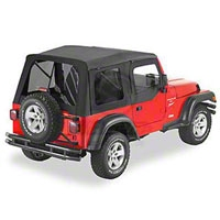 Bestop Supertop Soft Top w/ Tinted Windows And Upper Soft Doors, Black Diamond (97-06 Wrangler TJ) - Bestop 54710-35