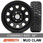 Mammoth D Window Steel 15x8 Wheel and Mudclaw Radial M/T 33X12.50R15LT Tire Kit (87-06 Wrangler YJ & TJ) - Mammoth KIT||J100950||J101206