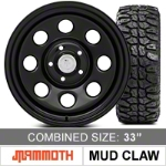 Mammoth 8 Steel 17x9 Wheel and Mudclaw Radial M/T 33X12.50R17LT Tire Kit (07-15 Wrangler JK) - Mammoth KIT||J100955||J101211