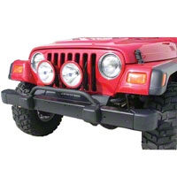 Olympic 4x4 Aux Bar w/3 Light Tabs, Textured Black (87-06 Wrangler YJ & TJ) - Olympic 4x4 183-124