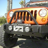 Olympic 4x4 2 in. Winch Protector Bar for Rescue & Smuggler, Textured Black (07-14 Wrangler JK) - Olympic 4x4 512-174