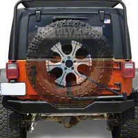 Olympic 4x4 550 Rock Bumper w/ Tire Carrier, Textured Black (07-15 Wrangler JK) - Olympic 4x4 5507-174