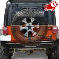 Olympic 4x4 550 Rock Bumper w/ Tire Carrier - Textured Black (07-16 Wrangler JK) - Olympic 4x4 5507-174