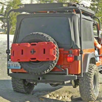 Olympic 4x4 553 Rock Bumper w/Tire Carrier, Gloss Black (97-06 Wrangler TJ) - Olympic 4x4 5537-121