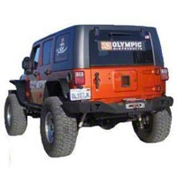 Olympic 4x4 Smuggler Rear Bumper w/ Spindal, Textured Black (07-14 Wrangler JK) - Olympic 4x4 556-174
