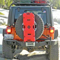 Olympic 4x4 Smuggler Rear Bumper w/Tire Carrier, Textured Black (07-13 Wrangler JK) - Olympic 4x4 5567-174