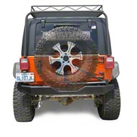Olympic 4x4 550 Rear Rock Bumper w/Spindle, Gloss Black (07-13 Wrangler JK) - Olympic 4x4 557-171