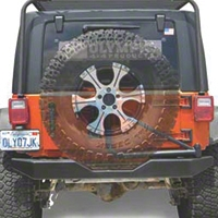 Olympic 4x4 550 Rear Rock Bumper w/ Spindle, Textured Black (07-14 Wrangler JK) - Olympic 4x4 557-174