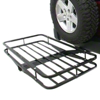 Olympic 4x4 Deluxe Receiver Rack - Textured Black (87-15 Wrangler YJ, TJ & JK) - Olympic 4x4 903-404