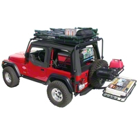 Olympic 4x4 Dave's Rack Cargo Carrier/Sunshade, Textured Black (97-06 Wrangler TJ) - Olympic 4x4 921-124