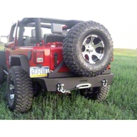 River Raider Rock Crawler Rear Bumper w/Tire Carrier, Black Powdercoat (07-13 Wrangler JK) - River Raider Off Road BMP-1061-TC-PC