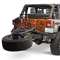 Olympic 4x4 Rear Smuggler Winch Bumper w/ Tire Carrier, Rubicon Black (07-15 Wrangler JK) - Olympic 4x4 5560-174