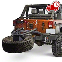 Olympic 4x4 Rear Smuggler Winch Bumper w/ Tire Carrier - Textured Black (07-16 Wrangler JK) - Olympic 4x4 5560-174