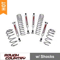 Rough Country 2.5 in. Suspension Lift Kit w/ Shocks (97-06 Wrangler TJ w/6 Cyl) - Rough Country PERF653