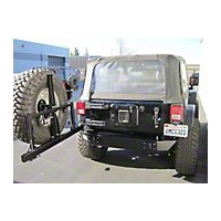 Pure Jeep Smooth Rear Stubby Bumper w/Tire Carrier & Light Provisions (07-13 Wrangler JK) - Pure Jeep PJ2002