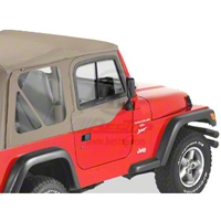 Bestop Upper Door Sliders for Factory Soft Top, Dark Tan (97-06 Wrangler TJ) - Bestop 51787-33
