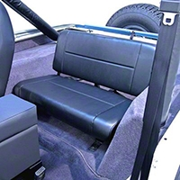 Rugged Ridge Standard Fixed Rear Seat, Black Denim (87-95 Wrangler YJ) - Rugged Ridge 13461.15