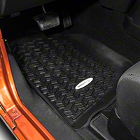 Rugged Ridge Front Floor Liners, Tread Lightly, Black (07-13 Wrangler JK) - Rugged Ridge TL-12920.01