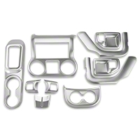 Rugged Ridge Interior Trim Accent Kit, Brushed Silver, Automatic (11-13 Wrangler JK 2 Door) - Rugged Ridge 11152.91