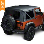 Barricade Replacement Soft Top w/ Tinted Windows, Black Diamond (07-09 Wrangler JK 2 Door) - Barricade J40000