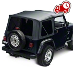 Barricade Replacement Soft Top with Tinted Windows for Half Doors w/Door Skins - Black Diamond (97-06 Wrangler TJ) - Barricade J40004