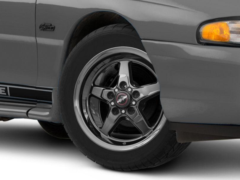 Race Star 92 Drag Star Dark Star Black Chrome Wheel; Front Only; Direct Drill; 17x4.5 (94-98 All)