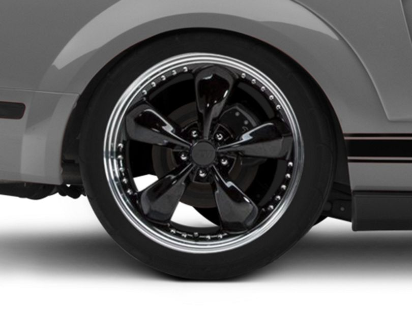 Bullitt Motorsport Black Wheel; Rear Only; 20x10 (05-09 GT, V6)
