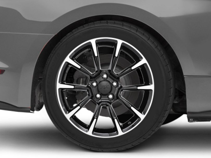 11/12 GT/CS Style Black Machined Wheel; Rear Only; 18x10 (15-20 EcoBoost, V6)