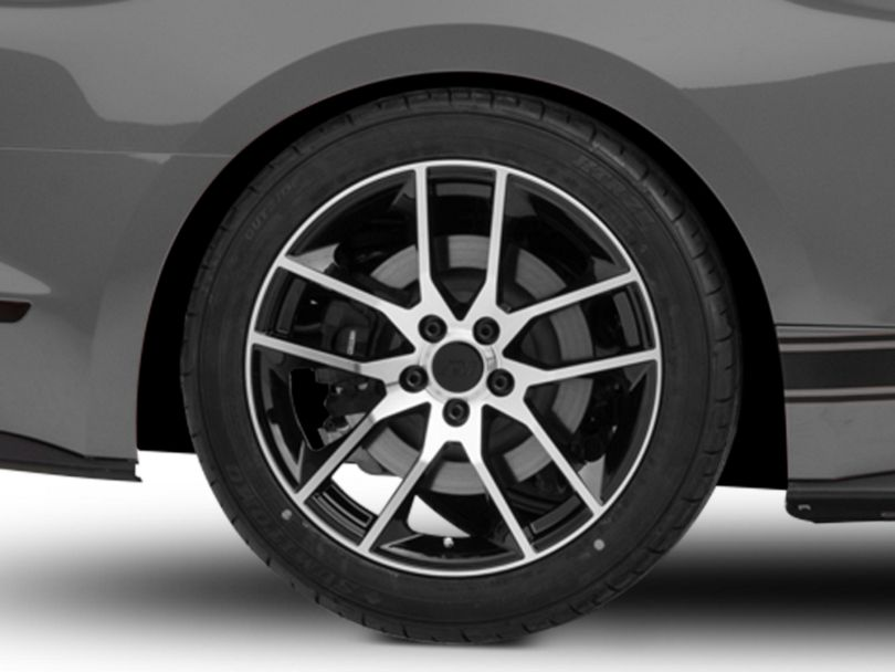 Magnetic Style Black Machined Wheel; Rear Only; 19x10 (15-20 GT, EcoBoost, V6)