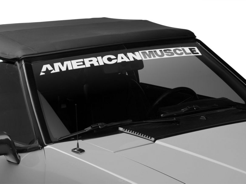 American Muscle Graphics AmericanMuscle Windshield Banner; White (79-93 All)
