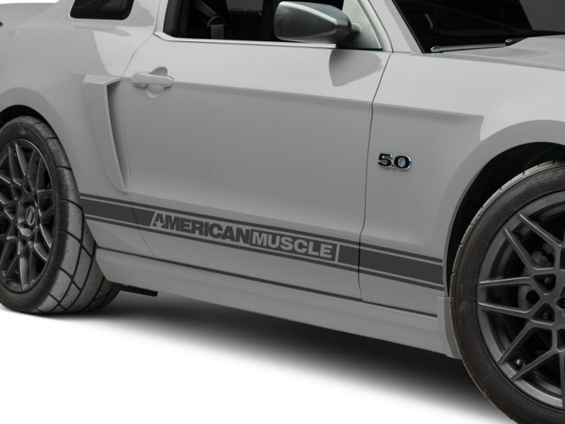American Muscle Graphics Matte Black Rocker Stripes w/ AmericanMuscle (05-14 All)